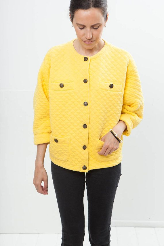 Taxi vintage quilted yellow cotton vest by BoatPeopleVintage
