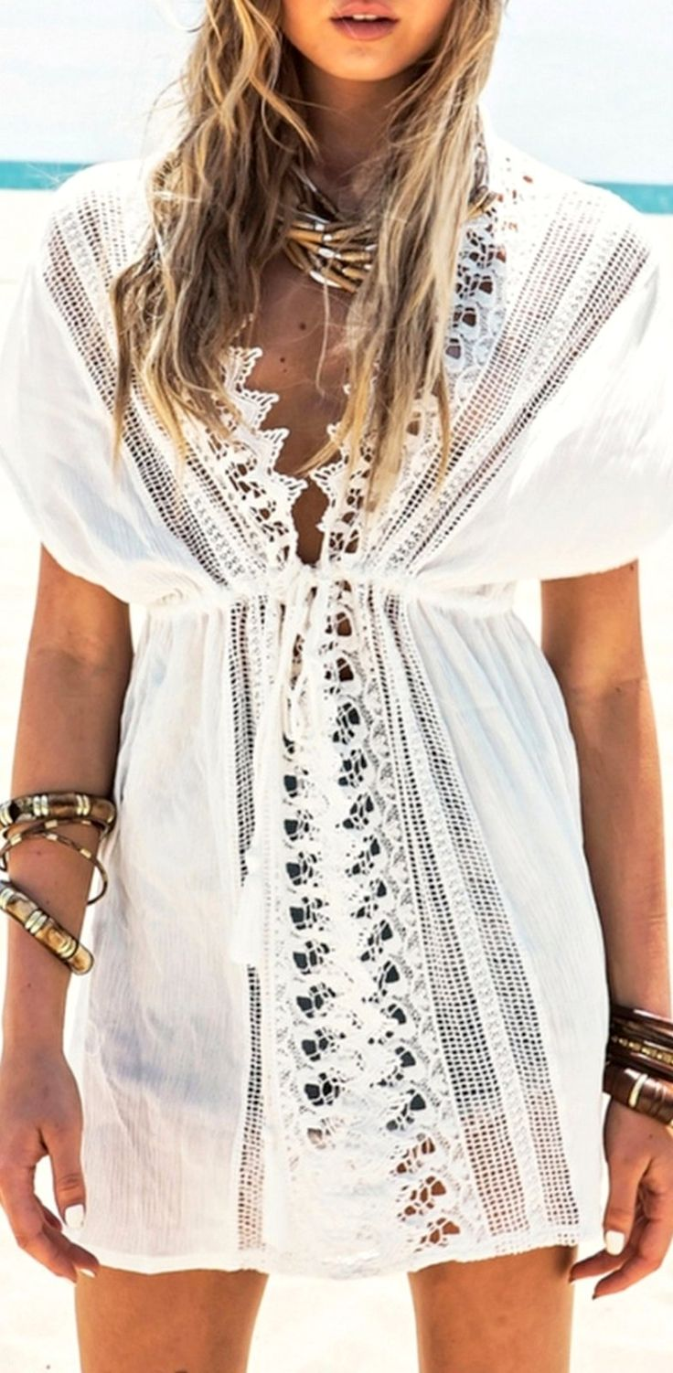 Product Description: Summer Women Sexy V-Neck Lace Hollow Bikini Cover-Up Beach Dress Material: Polyester and Lace, Color: White, Style: Cover-Up, Design: Lace Crochet, Strawstring, Season: Summer, Au