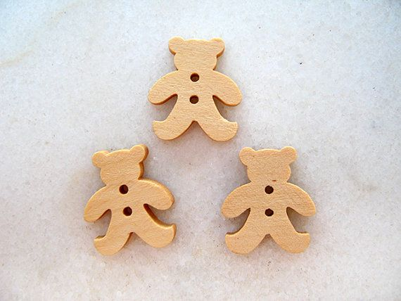 Wooden  Teddy Bear Buttons Children Buttons in Natural by nezoshop, $2.90