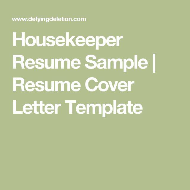 housekeeper resume sample resume cover letter template