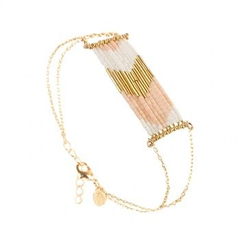Folk - Bracelet en laiton plaqué or - perles Japonaises Miyuki blanc mat/saumon - Caroline Najman - Ref: 1362148   Brandalley