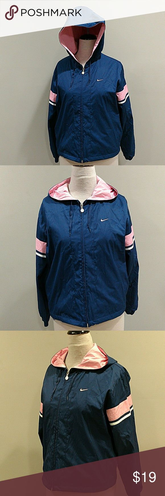 NIKE COAT SIDE XL EXCELLENT CONDITION. NO ISSUES NO STAINS ZIP UP COAT WITH GOOD. PINK AND BLUE Nike Jackets & Coats