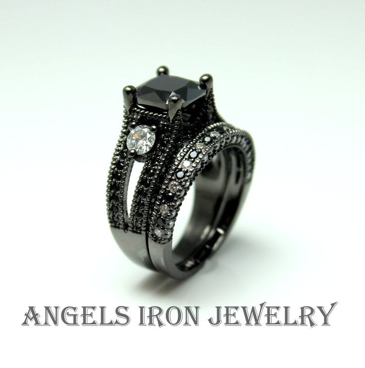 Black Gold Ring Diamond CZ Ring Set Engagement Wedding Anniversary Promise Rings High Quality Women High Quality Jewelry