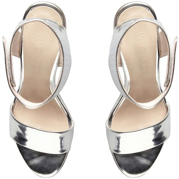 Zahara Metallic Wedge (450 RON) ❤ liked on Polyvore featuring shoes, sandals, heels, silver, wedge heel sandals, heeled sandals, silver sandals, ankle wrap wedge sandals and ankle strap wedge sandals