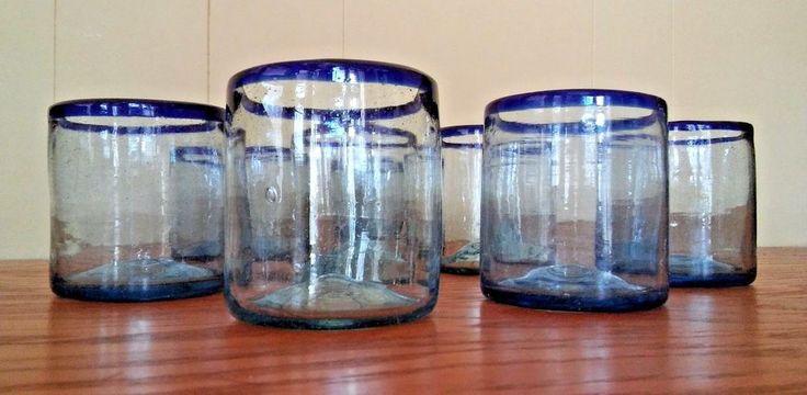 8 Blue Rim Glasses Mexican Hand Blown Tumbler Low Ball Cobalt Heavy Pontil 16 oz #Mexico