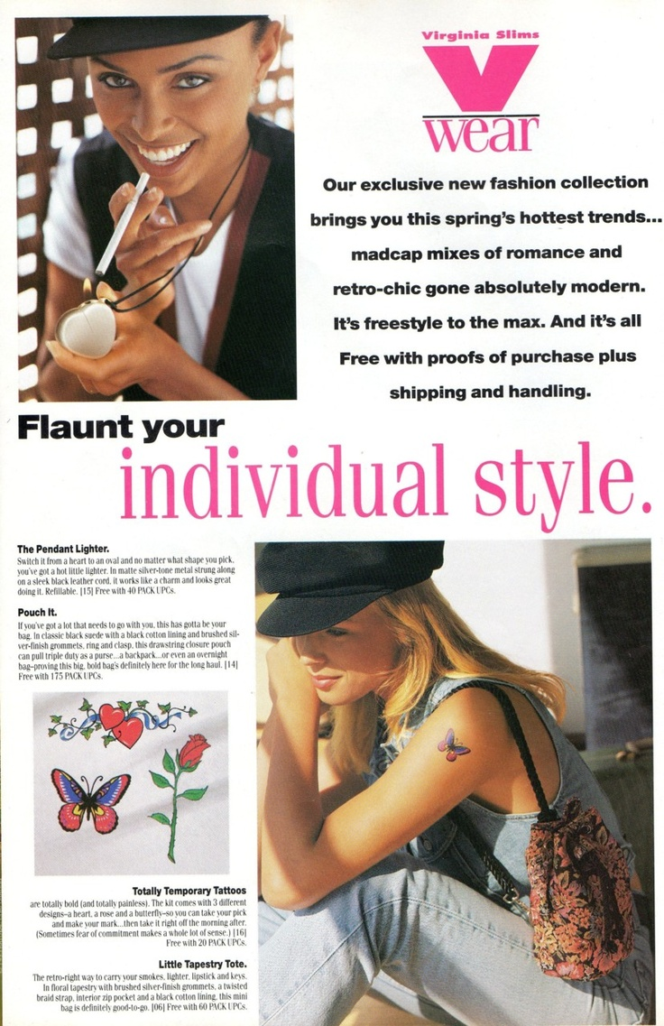tapestry tote! temporary tats! uhm interesting glimpse of 90s cigarette advertising