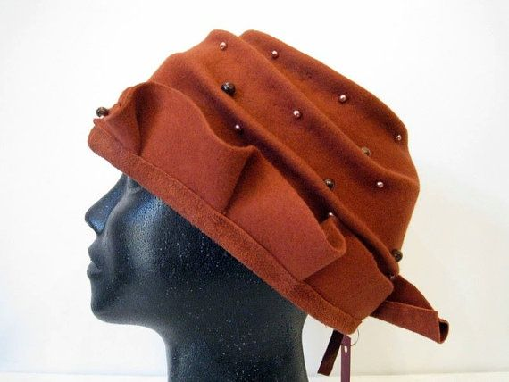 Draped hat made of felt in the color by DanuttaHandGallery on Etsy