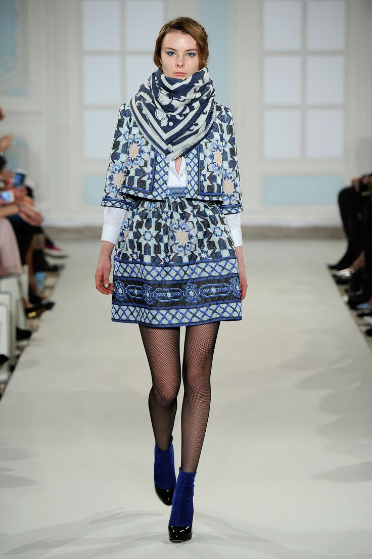 Temperley London Winter 14  Merida tile cropped jacket, Luella pintuck shirt, Merida tile show skirt, Isidora shawl