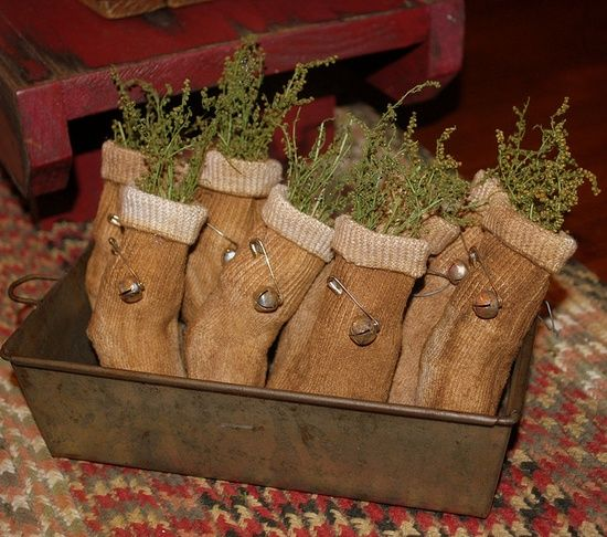 primitive crafts | Primitive Crafts / baby socks-tea dyed and bell added.