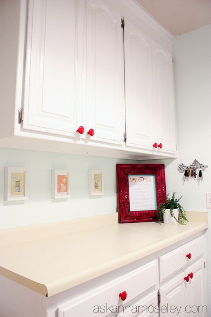 Anna used our bright red ceramic knobs to help accent her bold new red & white laundry room! Thanks for the link Anna!