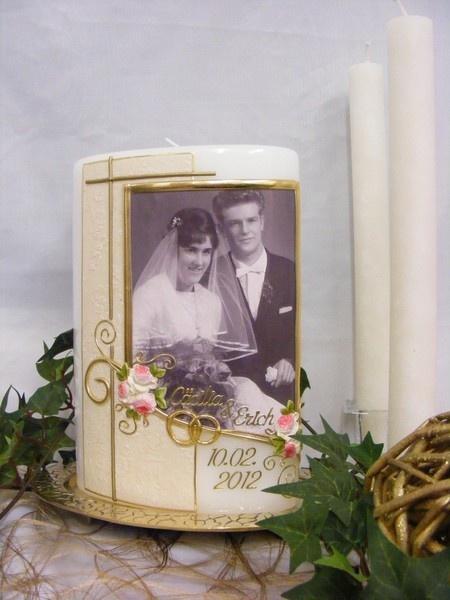 *Eine tolle Geschenkidee als Erinnerung an die silberne Hochzeit, goldene Hochzeit oder diamantene Hochzeit; Kerzen zum Hochzeitsjubiläum mit Foto!...