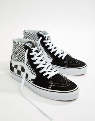 5c79206d6a85 Shop Vans SK8-Hi Checkerboard Sneakers In Black VA38GEQ9B at ASOS. Discover  fashion online.