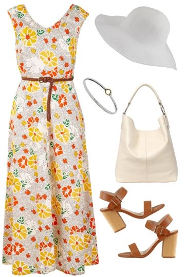 Outfit of the Day: Float a flowing maxi dress atop a chic pair of sandals and add a sunhat for timeless style! A waist tie gently defines your shape while a maxi length keeps your legs covered with ease.