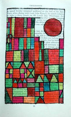 Paul Klee geometric drawing/watercolor on old book page