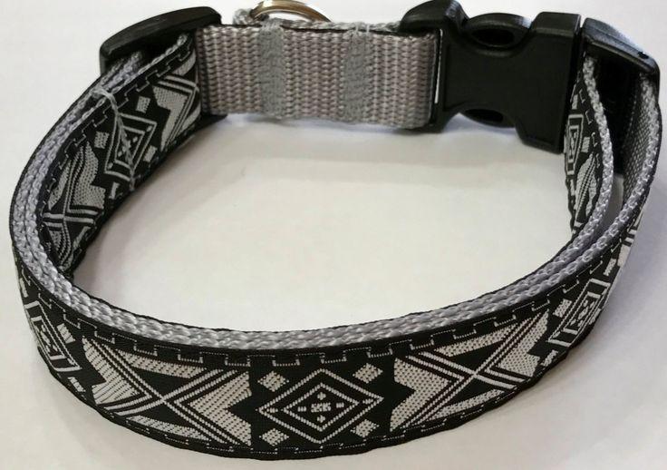 Dog Collar: Aztec/Southwestern Jacquard Ribbon Collar, Black and SilverDesigner Custom/Puppy/Adult/Pet Collars, Pet Supplies, Vet Gift Item by TwistnShoutDesigns on Etsy