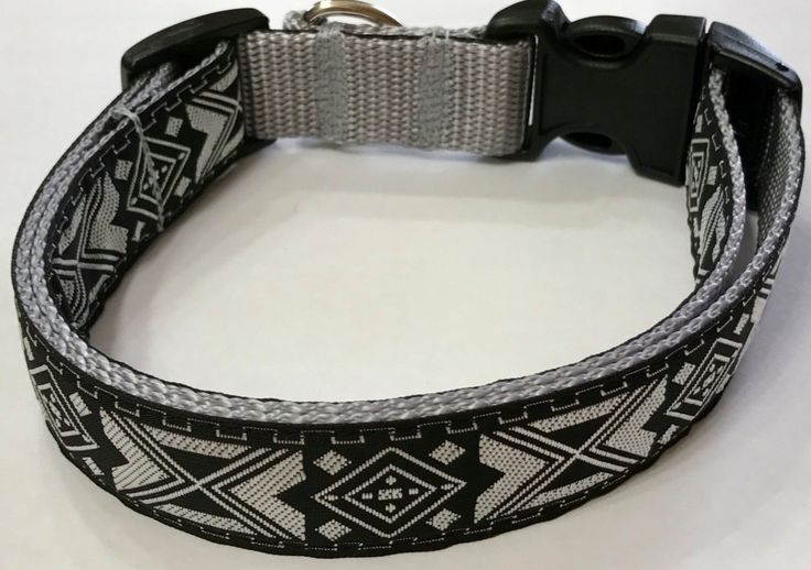 Dog Collar: Aztec/Southwestern Jacquard Ribbon Collar, Black and SilverDesigner Custom/Puppy/Adult/Pet Collars, Pet Supplies, Vet Gift Item by TwistnShoutDesigns on Etsy