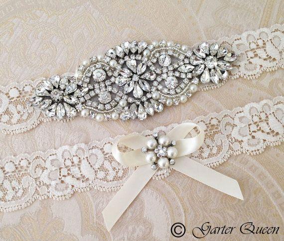 Wedding Garter set Bridal Garter set Ivory Lace by GarterQueen