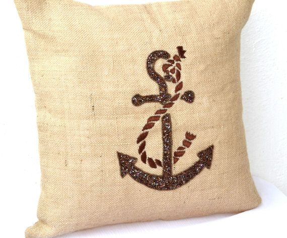 Decorative throw pillows Nautical anchor pillow by AmoreBeaute