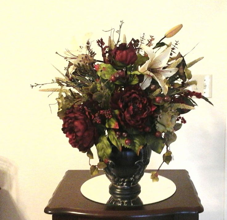 Floral arrangement red peony table floral centerpiece for Foyer flower arrangement