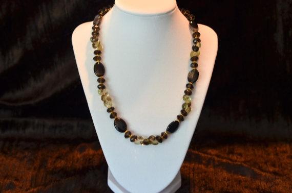 Lemon and Smokey Quartz Necklace by JewelrybyMKDesigns on Etsy