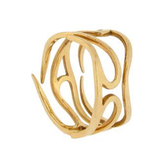 Yellow gold flame wedding ring