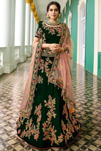 b74755509f Embroidery Work Green Color Wedding Wear Designer Velvet Lehenga Choli