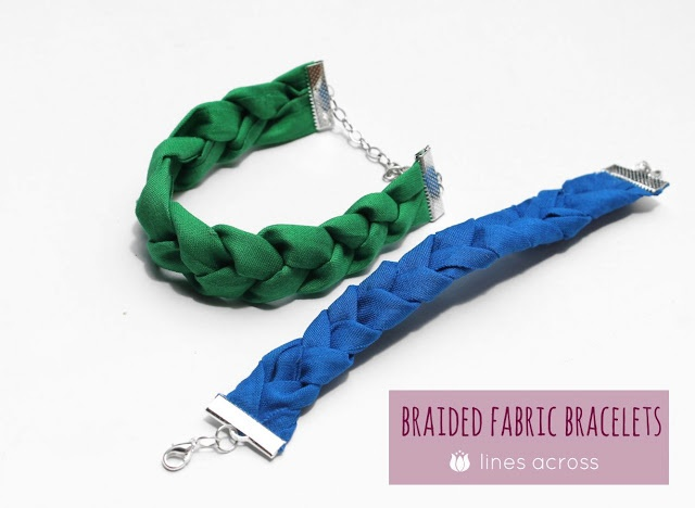 """How To Make Braided Fabric Bracelets from """"Lines Across"""" (linesacross.com)"""
