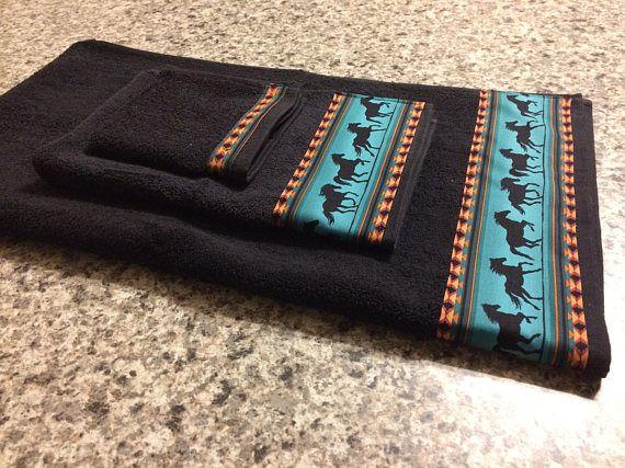Western Towels Black Towels Western Bathroom Western
