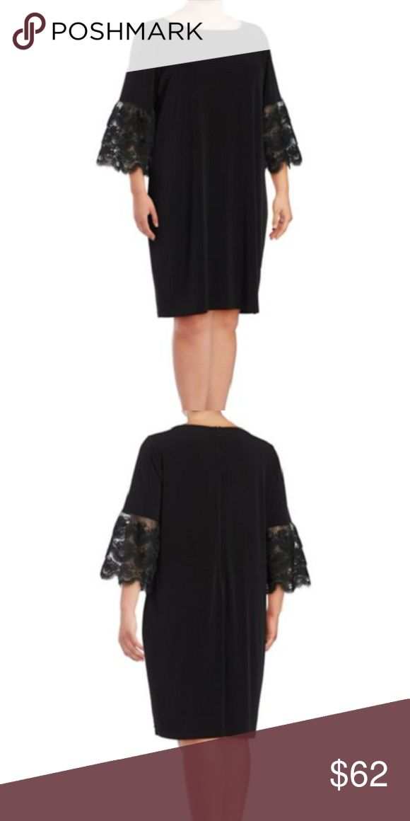 Ivanka Trump Black Lace Bell Sleeve Dress Plus- 1X IVANKA TRUMP Black Matte Jersey Lace Bell Sleeve Dress Size- ( Plus- 1X ) RETAILS FOR $138.00 + TAX   This stylish shift party dress with lace details sleeves is striking!  This versatile dress offers understated elegance.  This Dress will Look Fabulous for Many Occasions!!!  DETAILS Color: Black Three-quarter bell sleeves with lace details  Crew neckline sleeveless Concealed back zipper closure  lined  Shell: Polyester Lining…