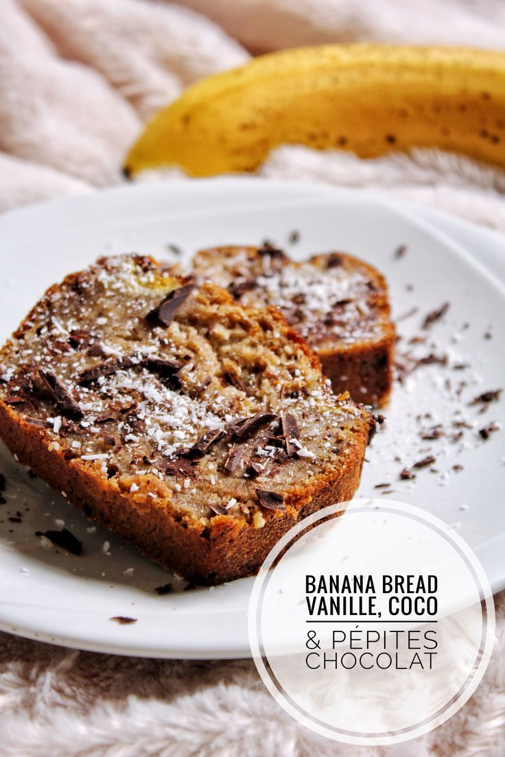 Banana bread vanille, coco, pépites chocolat vegan sans gluten sans lactose sans oeufs