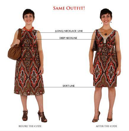 O colar segue a nova linha do decote, o vestido acompanha as formas do corpo e a barra alonga as pernas.