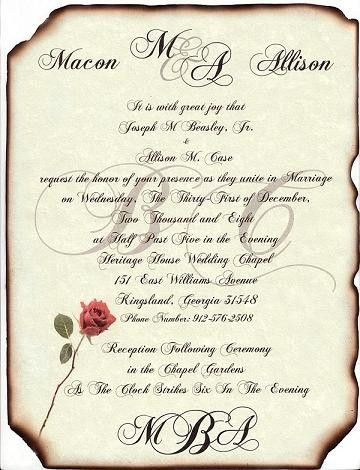 Qty 50 Scroll Wedding Invitations Love Letter Theme Style B With Envelopes.  Via Etsy.
