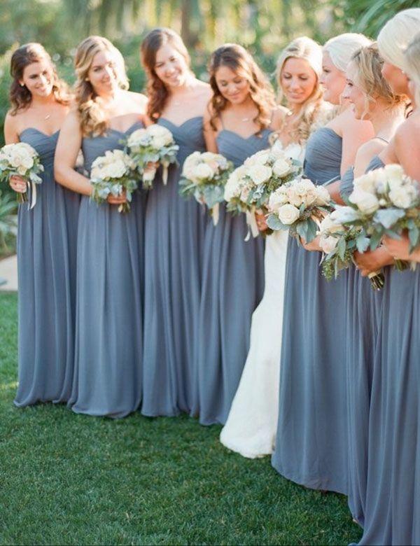 Simple Sweetheart A-line Chiffon Long Grey Bridesmaid Dress,long bridesmaid dress,grey bridesmaid dress,bridesmaid dress 2016
