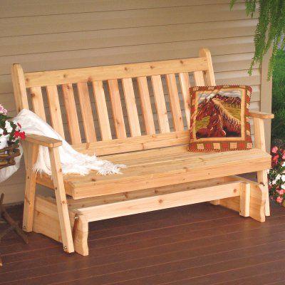 A & L Furniture Western Red Cedar Traditional English Outdoor Loveseat Glider Oak Stain - 601C-OAK STAIN