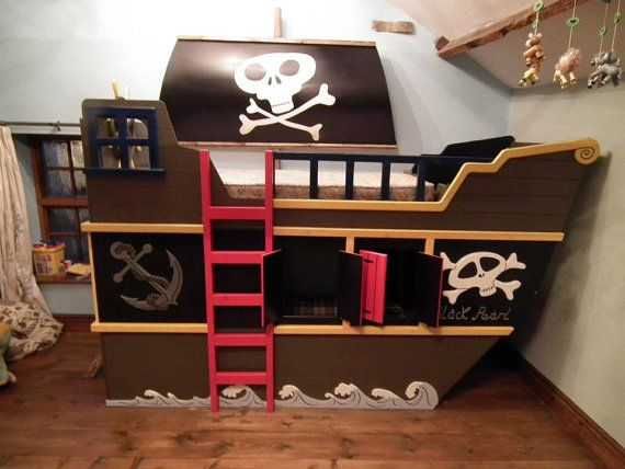 Pirate ship theme bunk bed, with hideout and play deck.