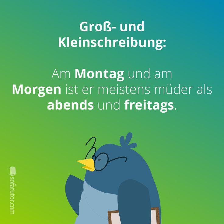 """Groß- und Kleinschreibung: """"Am Montag und am Morgen ist er meistens müder als abends und freitags."""" Mehr Besserwisser-Sprüche gibt's hier: magazin.sofatutor.com/schueler"""