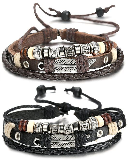 Simple FIBO STEEL Leather Charm Bracelet for Men Braided Wrist Cuff Vintage Pcs a Set