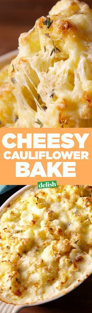 Cheesy Cauliflower Bake - Delish.com I would go lighter on the butter next time, there is enough cream and cheese to make it cook up nicely.