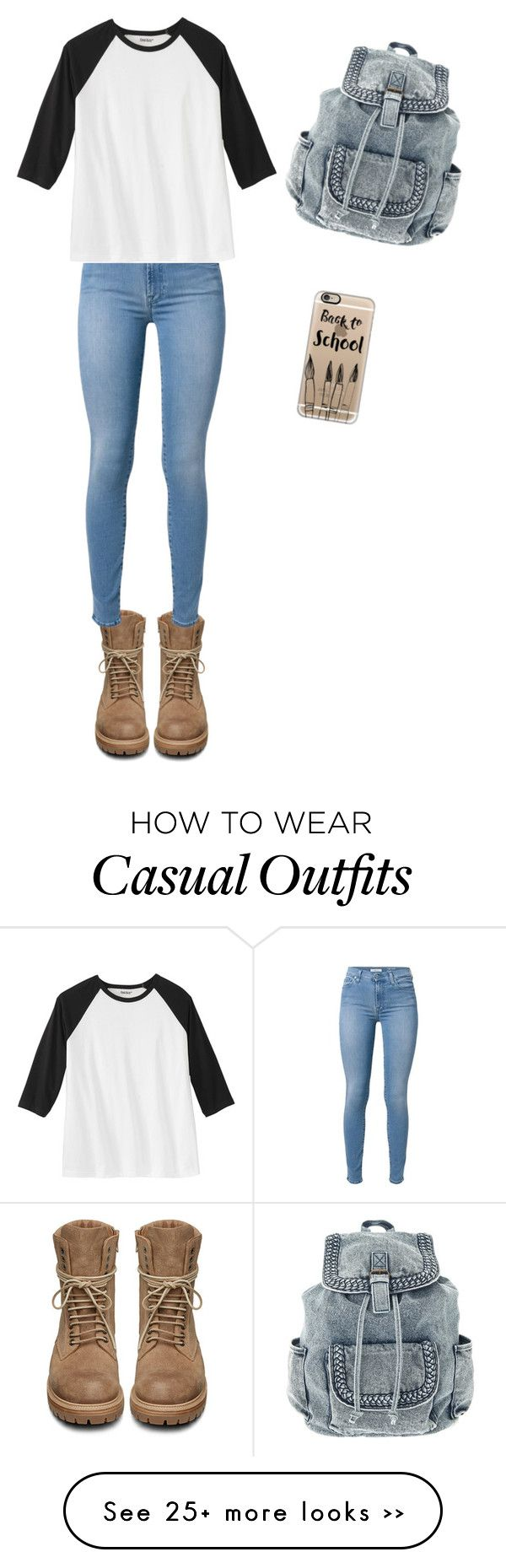 """""""Casual school"""" by chlofthesclan on Polyvore featuring Rick Owens, 7 For All Mankind and Casetify"""