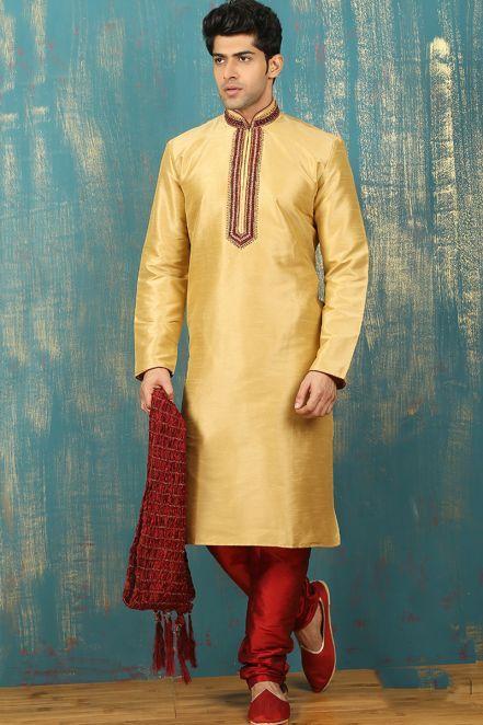 8672f5fa21 #Eid Men #Dresses 2018 - Art Silk Embroidered Designer Kurta Pajama in  Golden