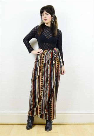 90s+striped+tribal+print+wrap+around+skirt