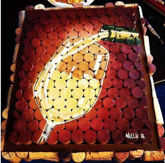 White wine cork painting