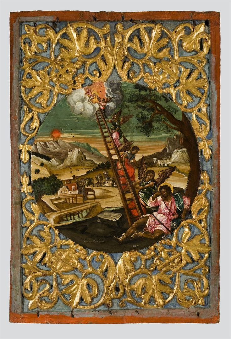 Jacob's Ladder / La Escalera de Jacob // 17th c. // Closure panel of an iconostasis from Zakynthos // Painted by Ilias Moskos. // Byzantine and Christian Museum, Athens
