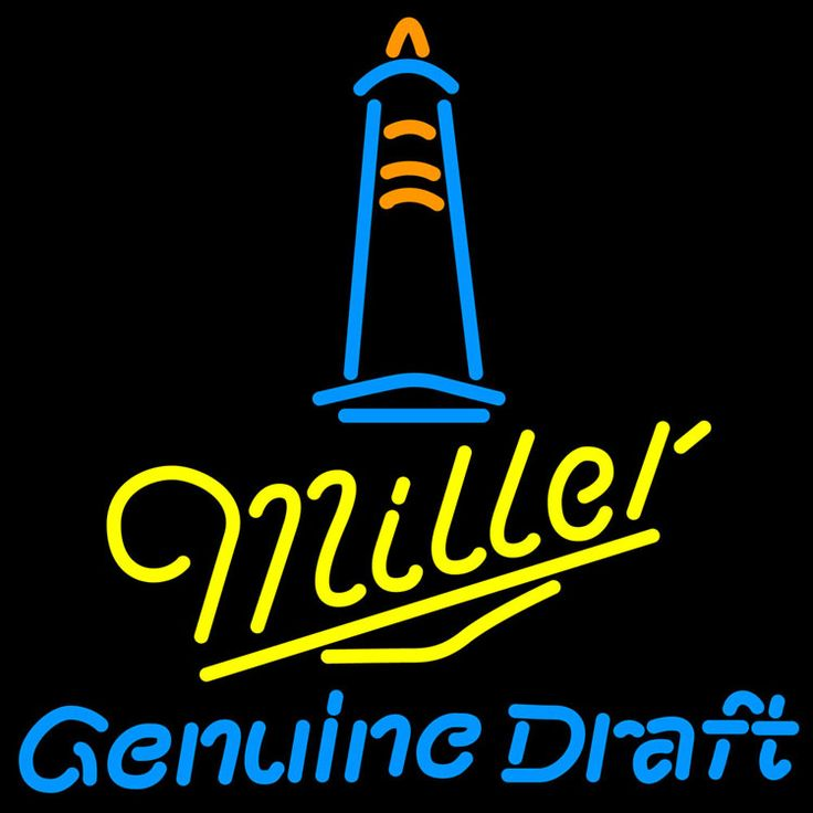 Miller MGD Lighthouse Lounge Neon Sign, Miller MGD Neon Beer Signs & Lights | Neon Beer Signs & Lights. Makes a great gift. High impact, eye catching, real glass tube neon sign. In stock. Ships in 5 days or less. Brand New Indoor Neon Sign. Neon Tube thickness is 9MM. All Neon Signs have 1 year warranty and 0% breakage guarantee.