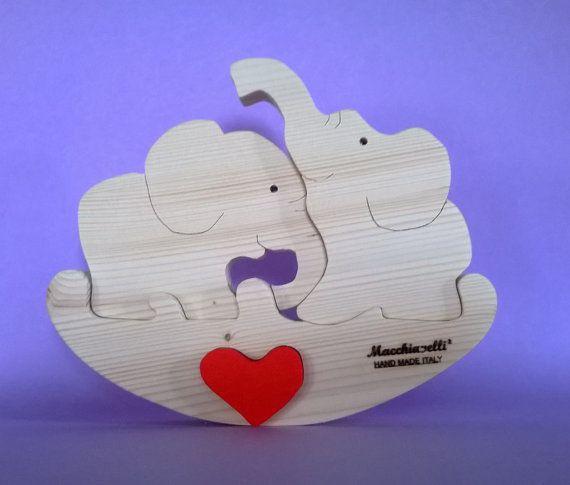 Puzzle animali elefanti in legno puzzle in legno puzzle cuore innamorati san valentino regalo coppia elefantini innamorati (Cod. PUZ008)