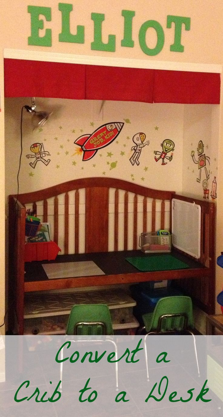 Convert a baby crib into a kid desk - lego station or play area!