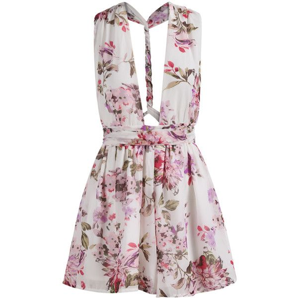 SheIn(sheinside) V Cut Backless Florals Jumpsuit featuring polyvore, fashion, clothing, jumpsuits, rompers, dresses, playsuits, vestidos, multi, white floral jumpsuit, floral jumpsuit, jump suit, floral romper and white romper jumpsuit