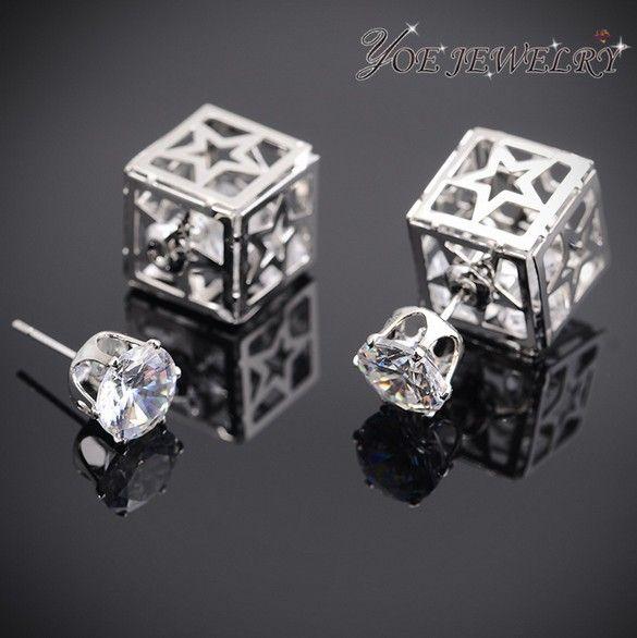 14 К золотые звезды дизайн романтический двухсторонняя кристалл стад серьги.