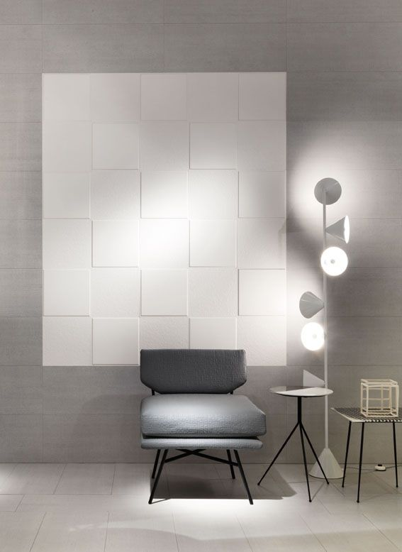 """MATHEREA flooring and FLEXIBLE ARCHITECTURE wall covering: a """"wow-effect"""" for your living! #design #designtiles #tiles #philippestarck #starckdesign #white #floor #wall #covering #designchair #CeramicaSantAgostino"""