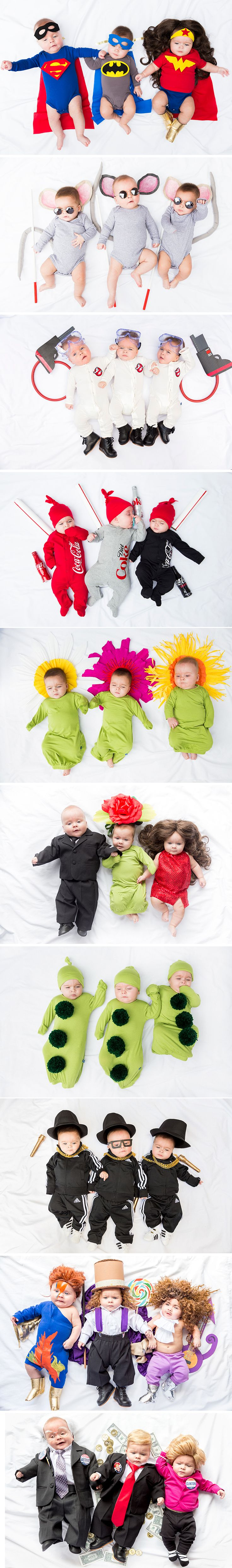 Triplets baby costumes for Halloween